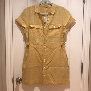 NWT Free People Sunny Yellow Linen Dress